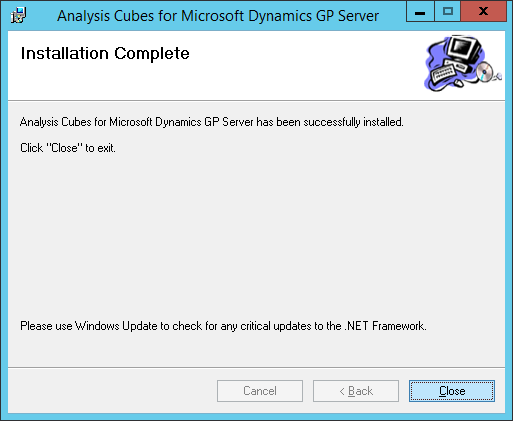 Analysis Cubes for Microsoft Dynamics GP Server: Installation Complete