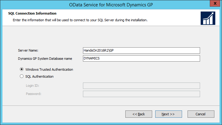 OData Service for Microsoft Dynamics GP: SQL Connection Information