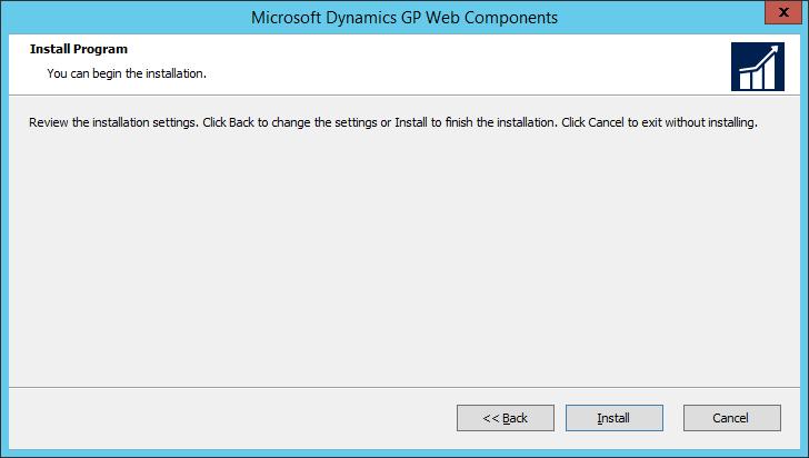 Microsoft Dynamics GP Web Components: Install Program
