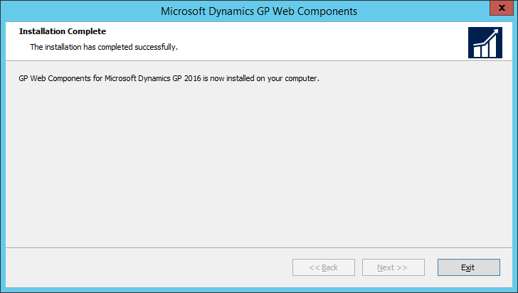 Microsoft Dynamics GP Web Components: Installation Complete