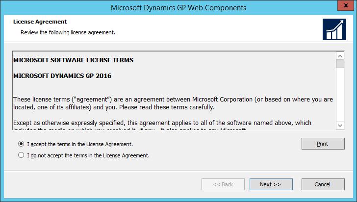 Microsoft Dynamics GP Web Components: License Agreement