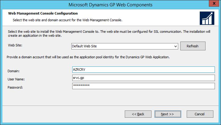 Microsoft Dynamics GP Web Components: Web Management Console Configuration