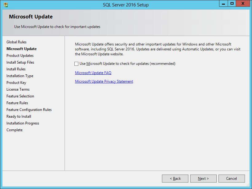 SQL Server 2016 Setup: Microsoft Update