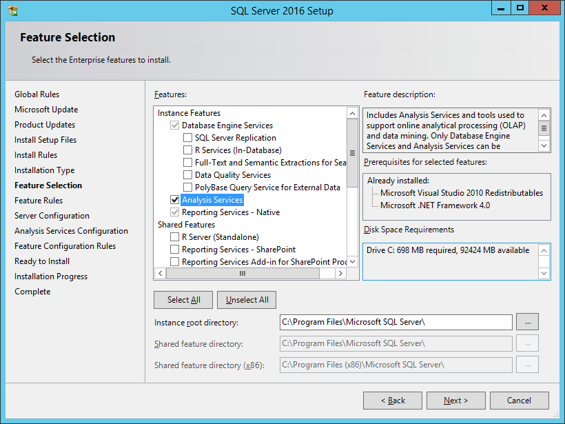 SQL Server 2016 Setup: Feature Selection