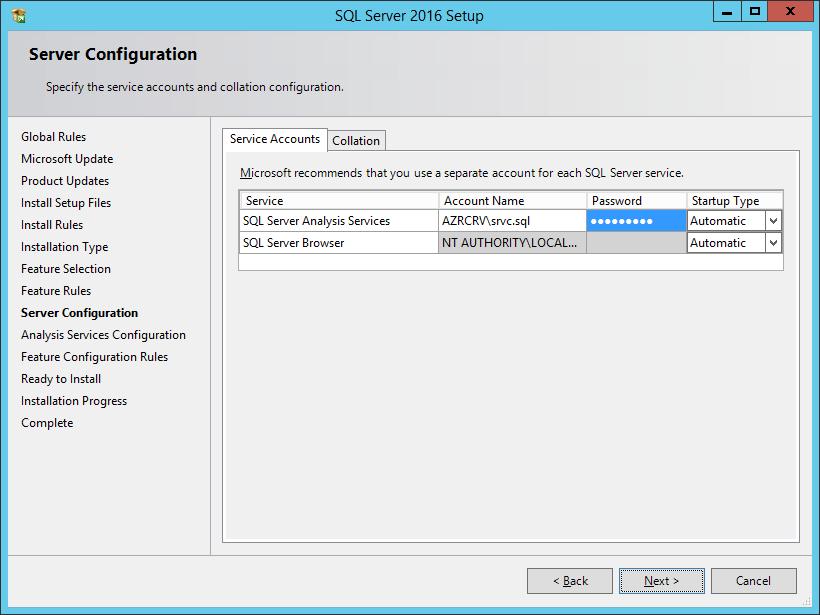SQL Server 2016 Setup: Server Configuration