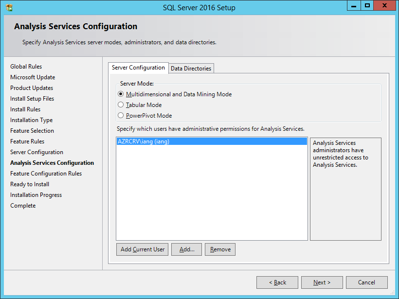 SQL Server 2016 Setup: Analysis Services Configuration