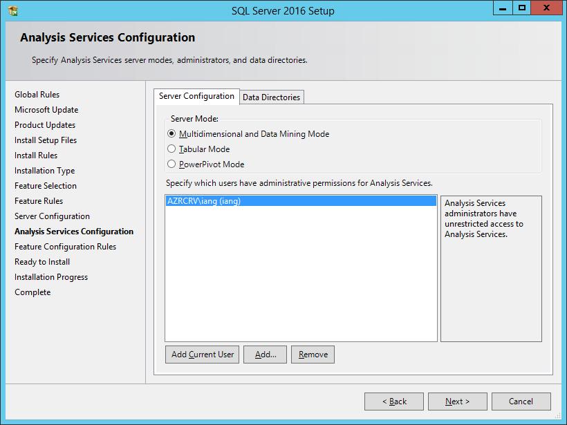SQL Server 2016 Setup: Analysis Services Configuration