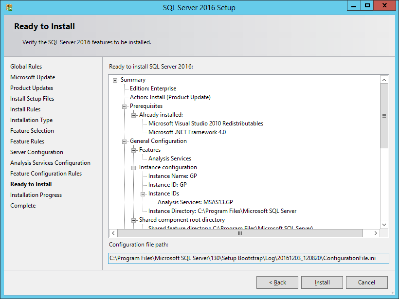 SQL Server 2016 Setup: ready to Install