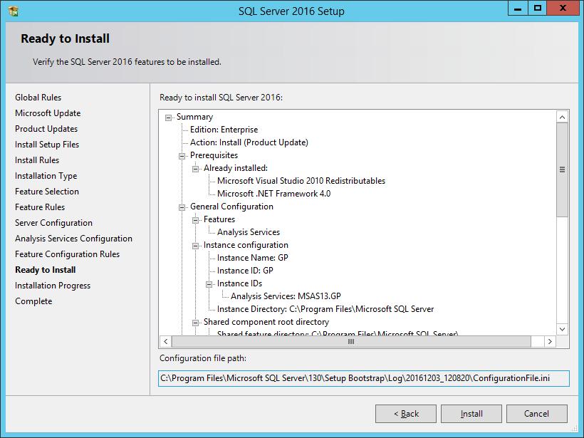 SQL Server 2016 Setup: ready to Install