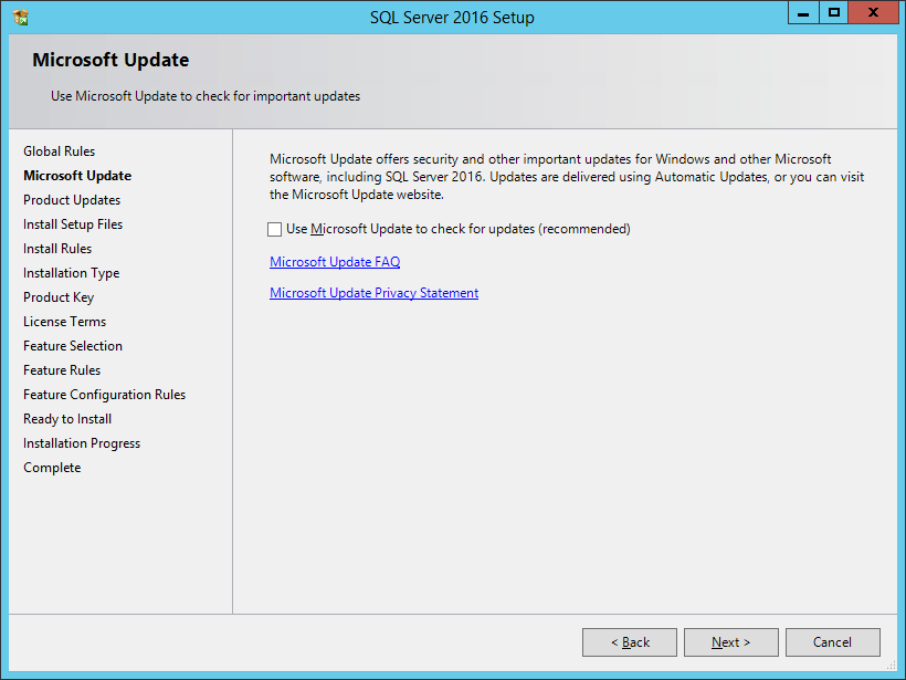 SQL Server 2016 Setup: Microsoft Update