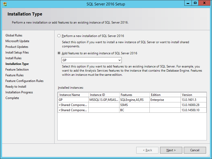 SQL Server 2016 Setup: Installation Type