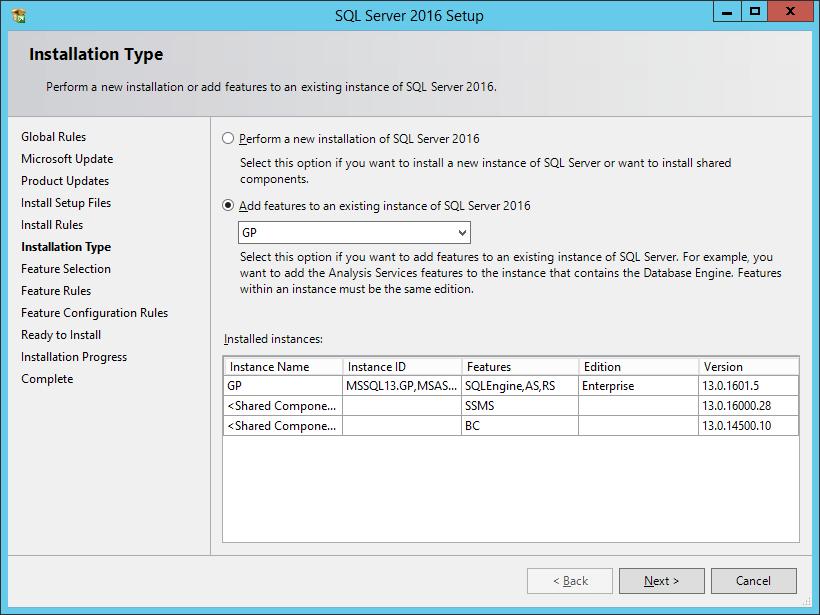 SQL Server 2016 Setup: Installation Type
