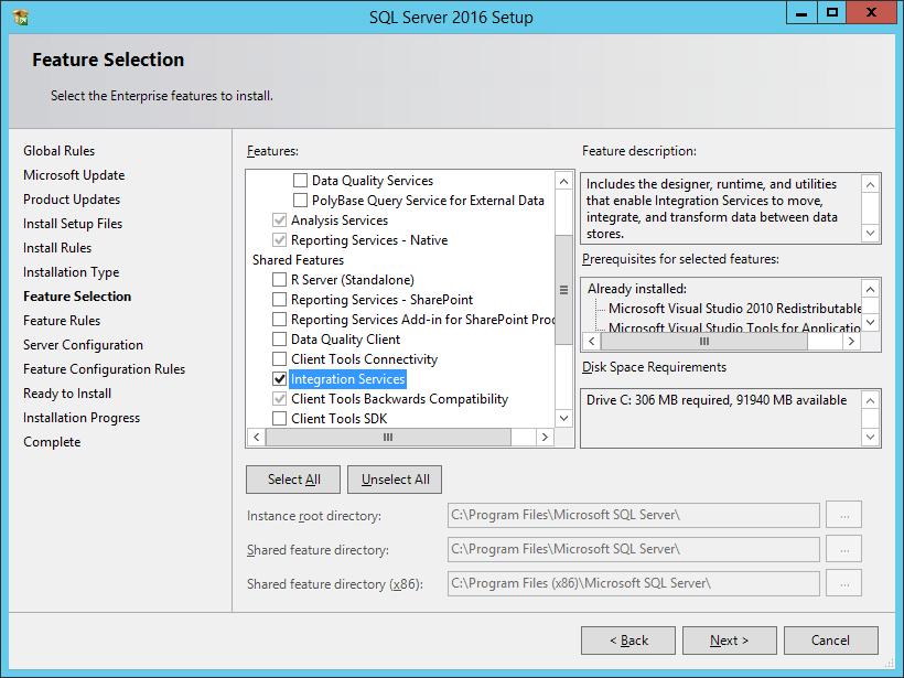 SQL Server 2016 Setup: Feature Selection