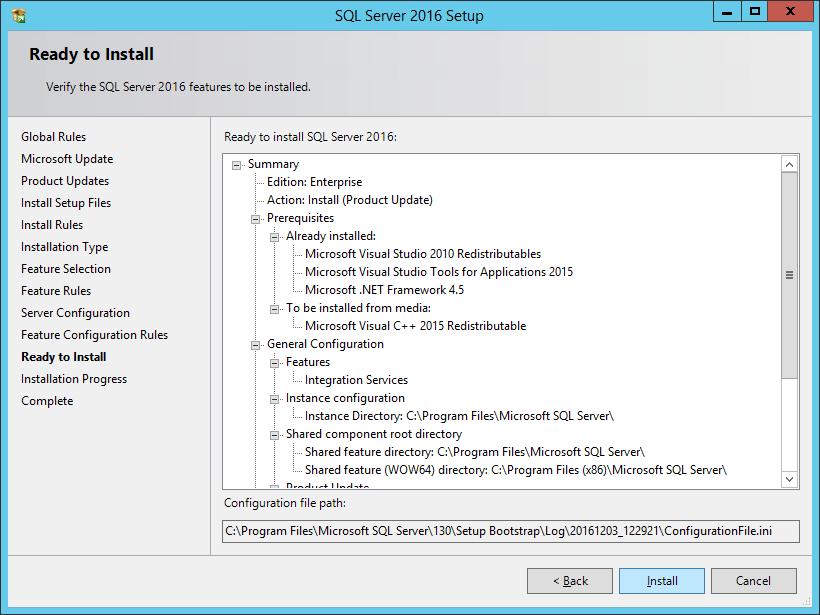 SQL Server 2016 Setup: