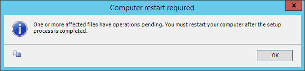 One or more affected files have operations pending. You must restart your computer after the setup process is completed.