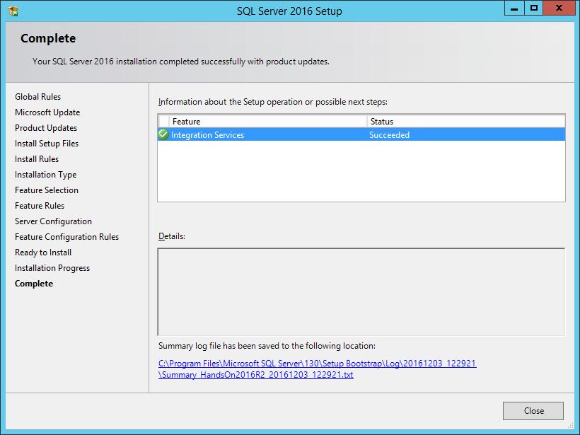 SQL Server 2016 Setup: Complete