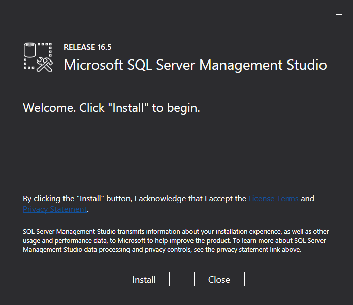 SQL Server Management Studio Installer