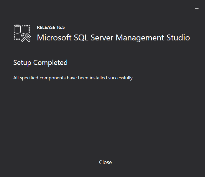 SQL Server Management Studio Installer: Setup Completed