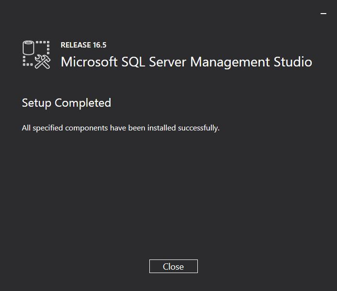 SQL Server Management Studio Installer: Setup Completed