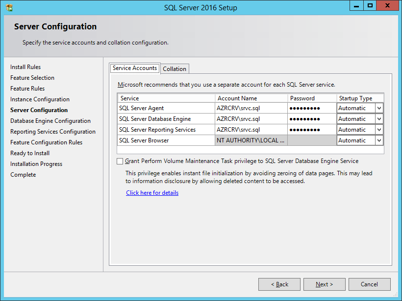 SQL Server 2016 Setup: Server Configuration - Service Accounts