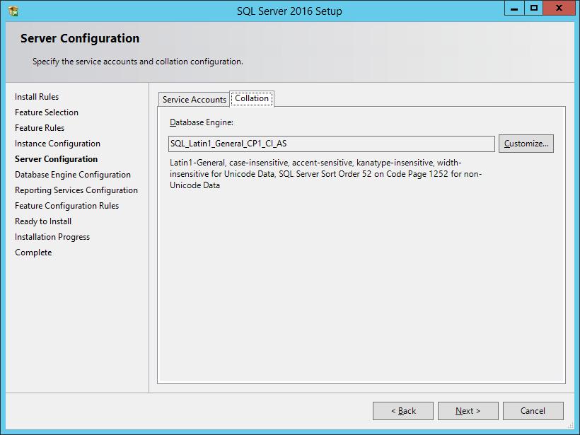 SQL Server 2016 Setup: Server Configuration - Collation