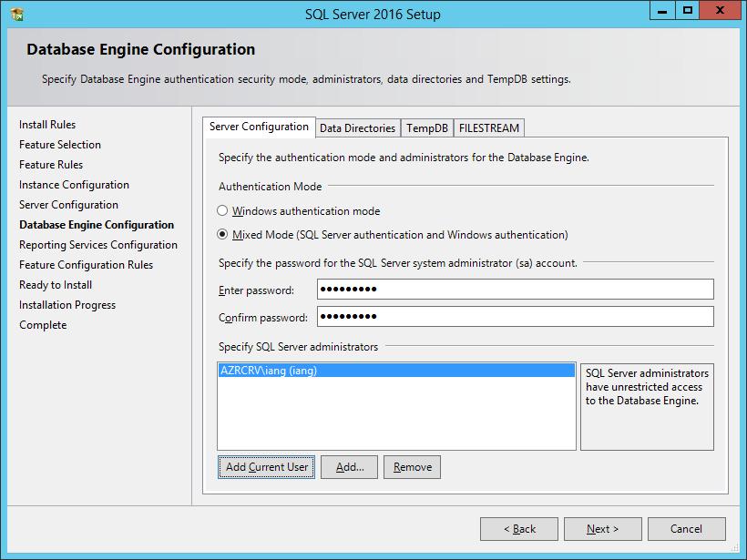 SQL Server 2016 Setup: Database Engine Configuration