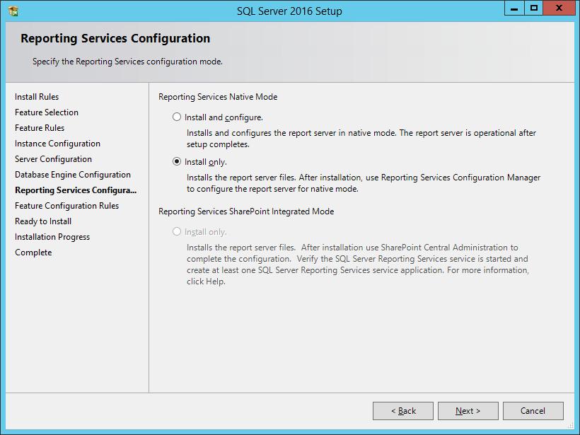 SQL Server 2016 Setup: Reporting Services Configuration