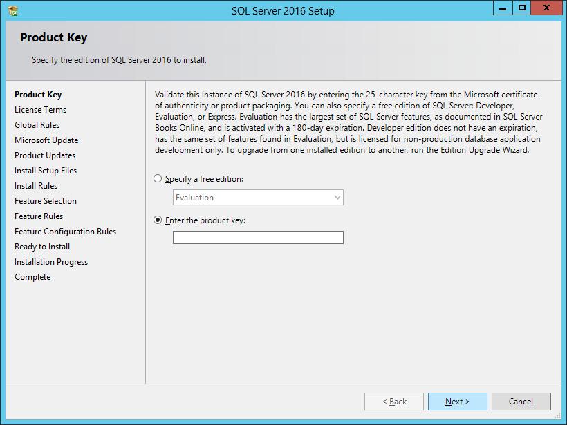 SQL Server 2016 Setup: Product Key