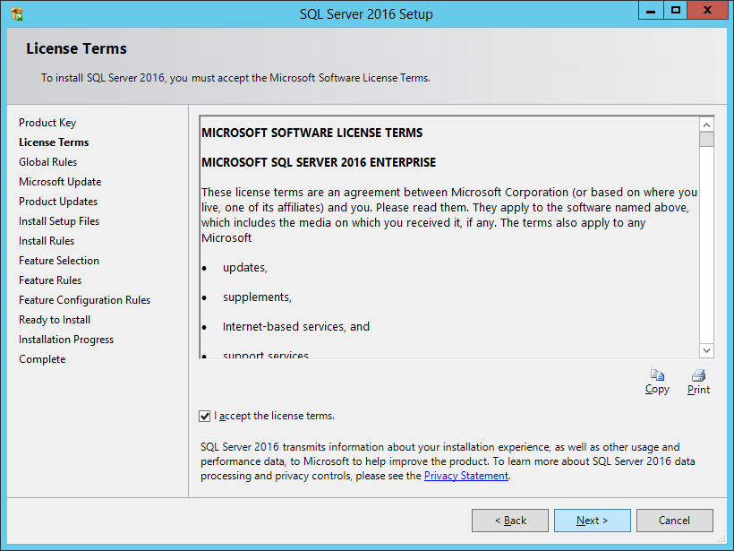 SQL Server 2016 Setup: License Terms