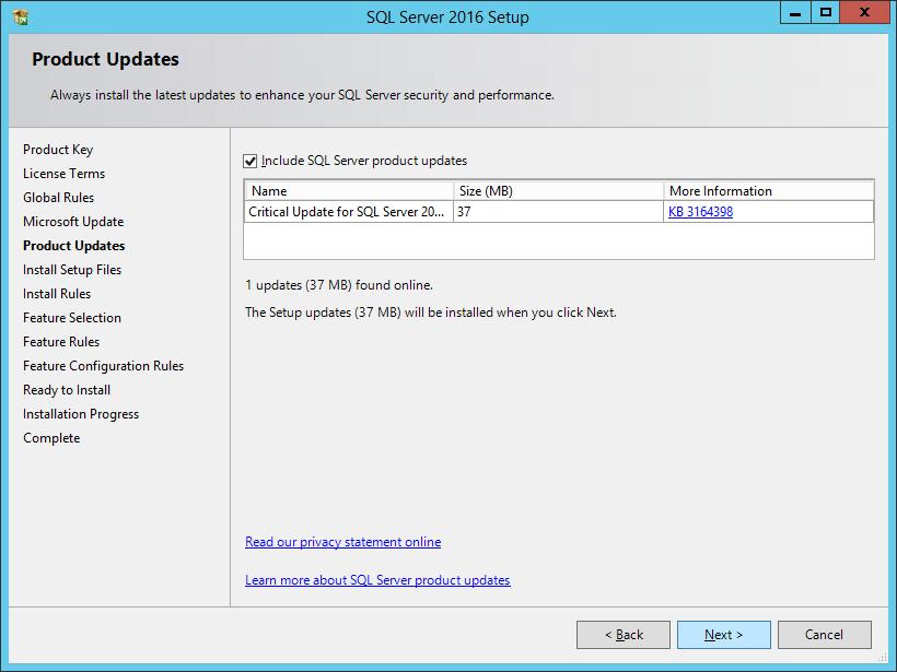 SQL Server 2016 Setup: Product Updates
