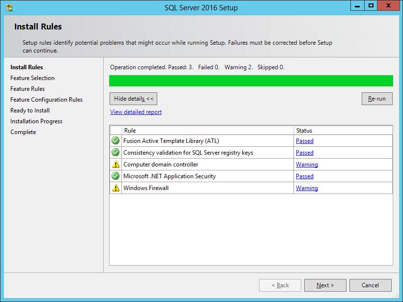 SQL Server 2016 Setup: Install Rules