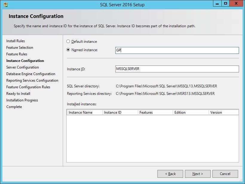 SQL Server 2016 Setup: Instance Configuration