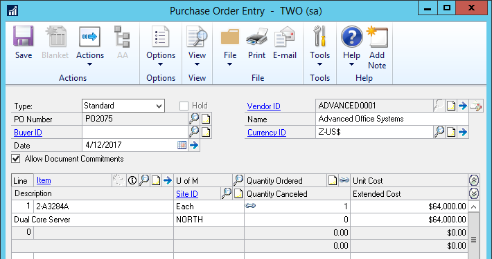 Purchase Order Entry