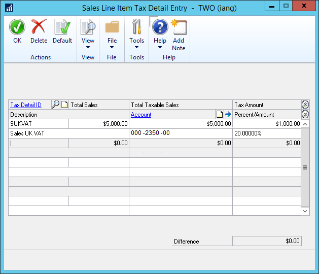 Sales Line Item Tax Detail Entry