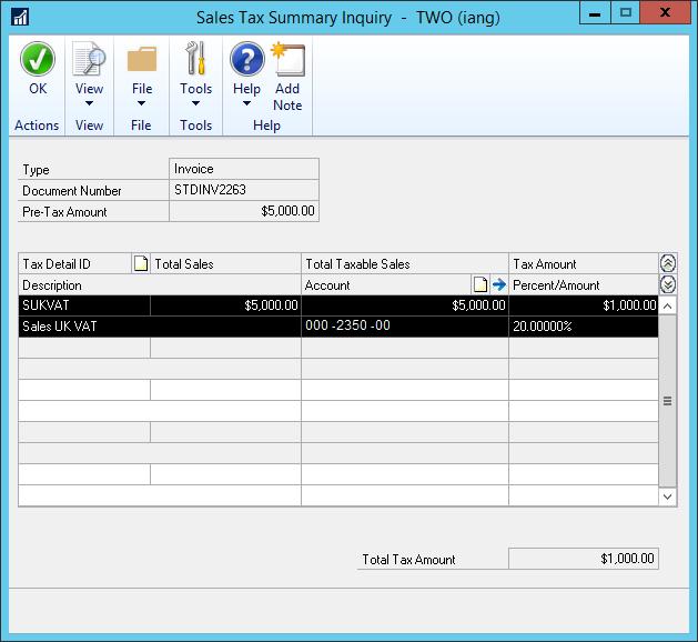 Sales Tax Summary Inquiry