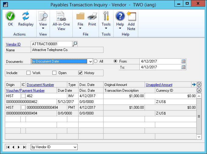 Payables Transaction Inquiry - Vendor