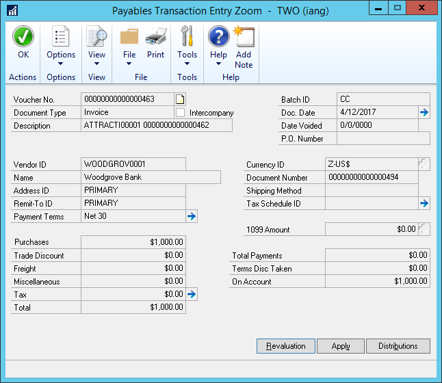 Payables Transaction Entry Zoom