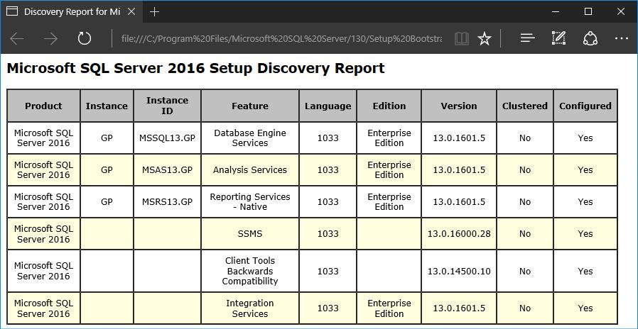 Microsoft SQL Server 2016 Setup Discovery Report