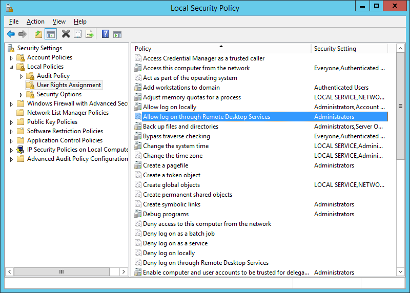 Local Security Policy >> User Rights Assignment