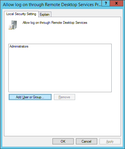 Allow log on through Remote Desktop Services Properties