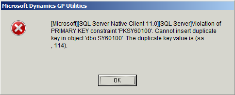 Microsoft Dynamics GP: Cannot insert duplicate key in object 'dbo.SY60100'