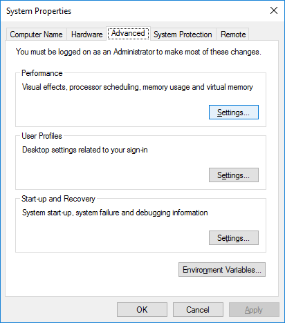 System Properties &127; Advanced tab