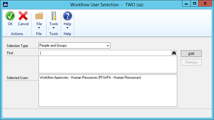 Workflow User Selection