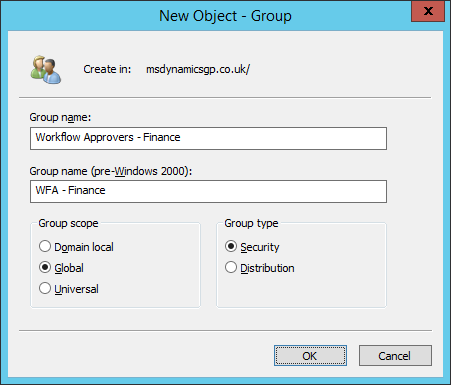 Active Directory Users and Computers - New Object Group