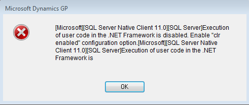 Execution Of User Code In The dotNET Framework Is Disabled