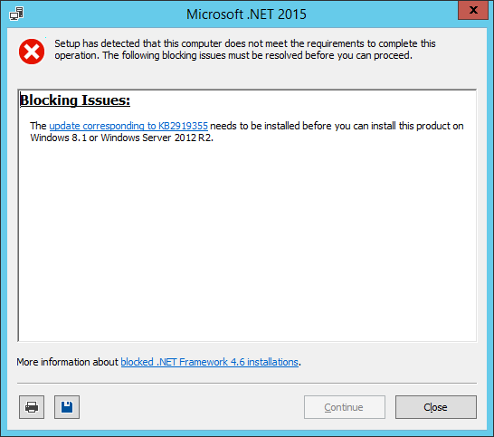 Microsoft .NET 2015 installer
