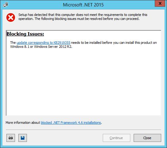 Microsoft .NET 2015 installer