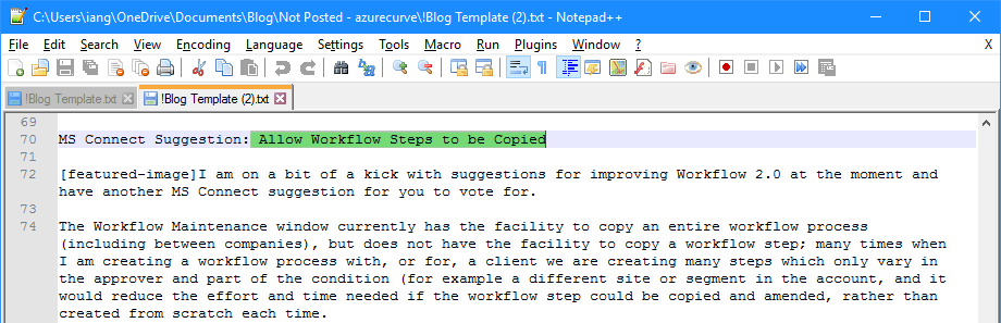 Notepad++ line selcted