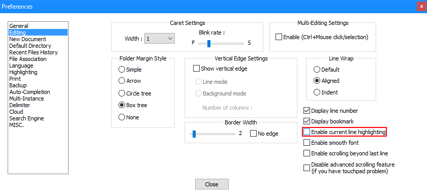 Notepad++ - Settings - Preferences