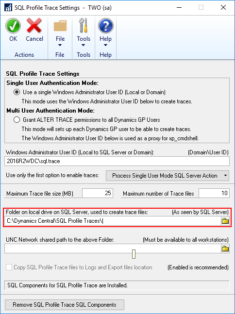 SQL Server Profile Trace Settings